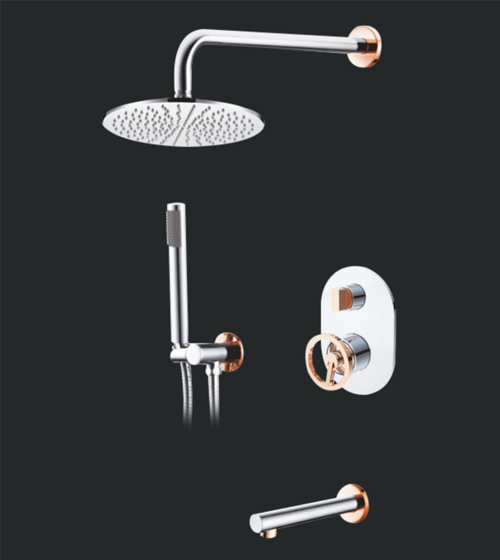 Aquant Chrome+Rose Gold Shower Set