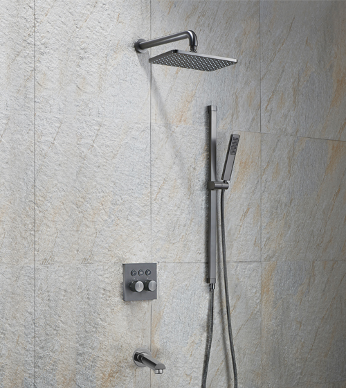 Aquant Graphite Grey Finish Shower Set