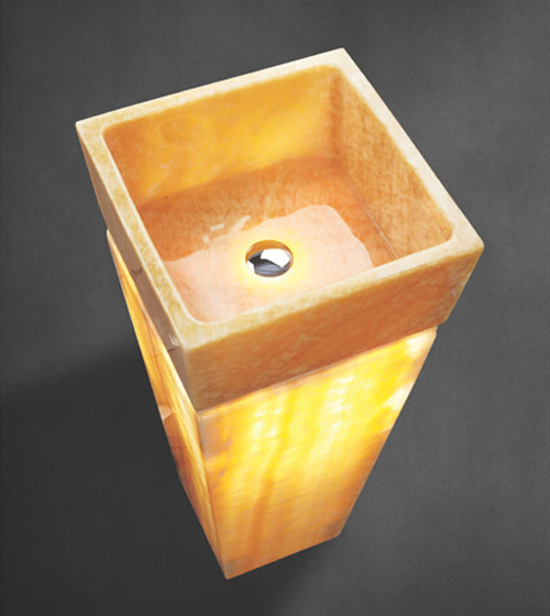 Aquant Yellow Onyx Pedestal Basin